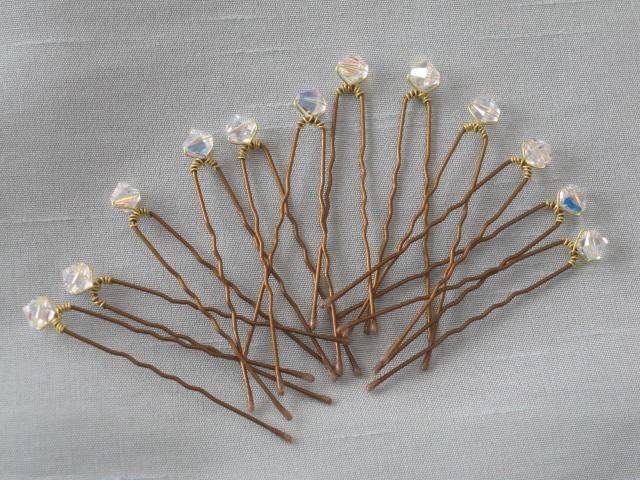 Свадьба - Wedding Crystal Hair Pins 12 Swarovski Crystal Bronze Up Do Hairpins by lakehousejewelrybd H001