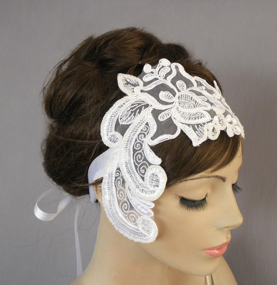 Свадьба - Lace Bridal Headband, Ribbon Fascinator. White. Handmade.
