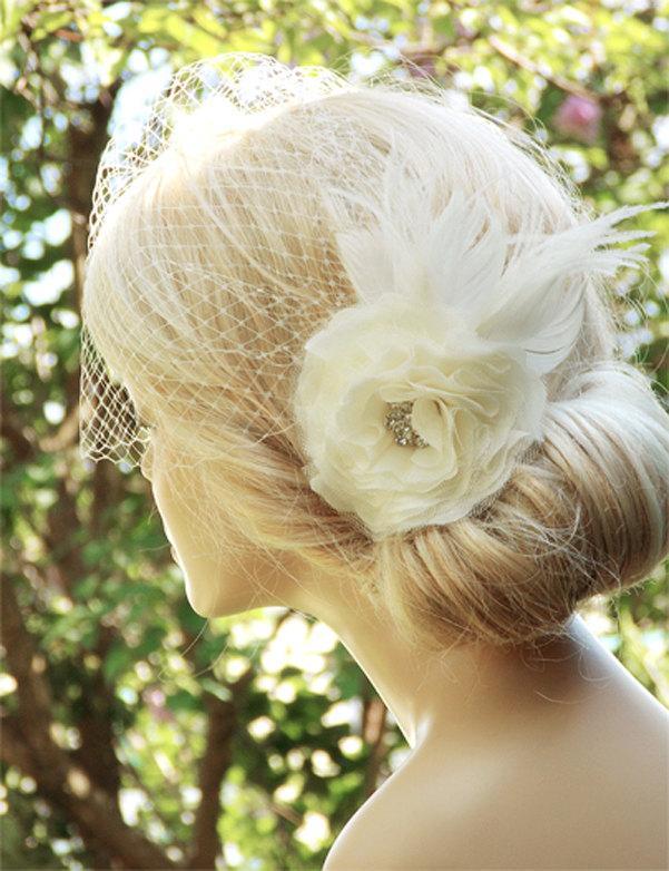 Wedding - Bridal Birdcage Veil Wedding Hairstyles Bridal hair Wedding Fascinator Bridal Headpiece Hair updos Ivory fascinator Bridal Hairstyles