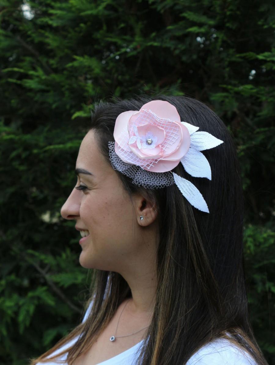 Свадьба - Bridal Flower Hairpiece, Hair Fascinator Head Piece, Quartz Pink,  Fabric Corsage Pin Double Usage Romantic Modern Beach Wedding
