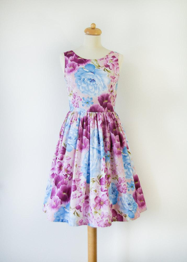 Hochzeit - Custom made floral bridesmaid dress, violet dress, cotton dress, vintage inspired bridesmaid dress
