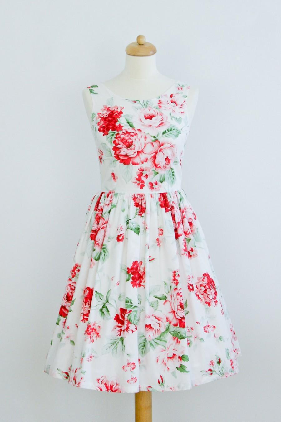 Wedding - Custom made bridesmaid dress, cotton dress, floral dress, vintage inspired dress