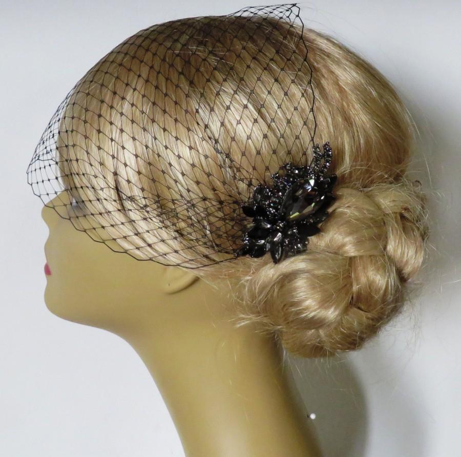 Свадьба - Birdcage Veil  and a Bridal Hair Comb (2 Items)  Black SET Bridal Headpiece Rhinestone Bridal Hair Comb Weddings  Silver  Rinestone
