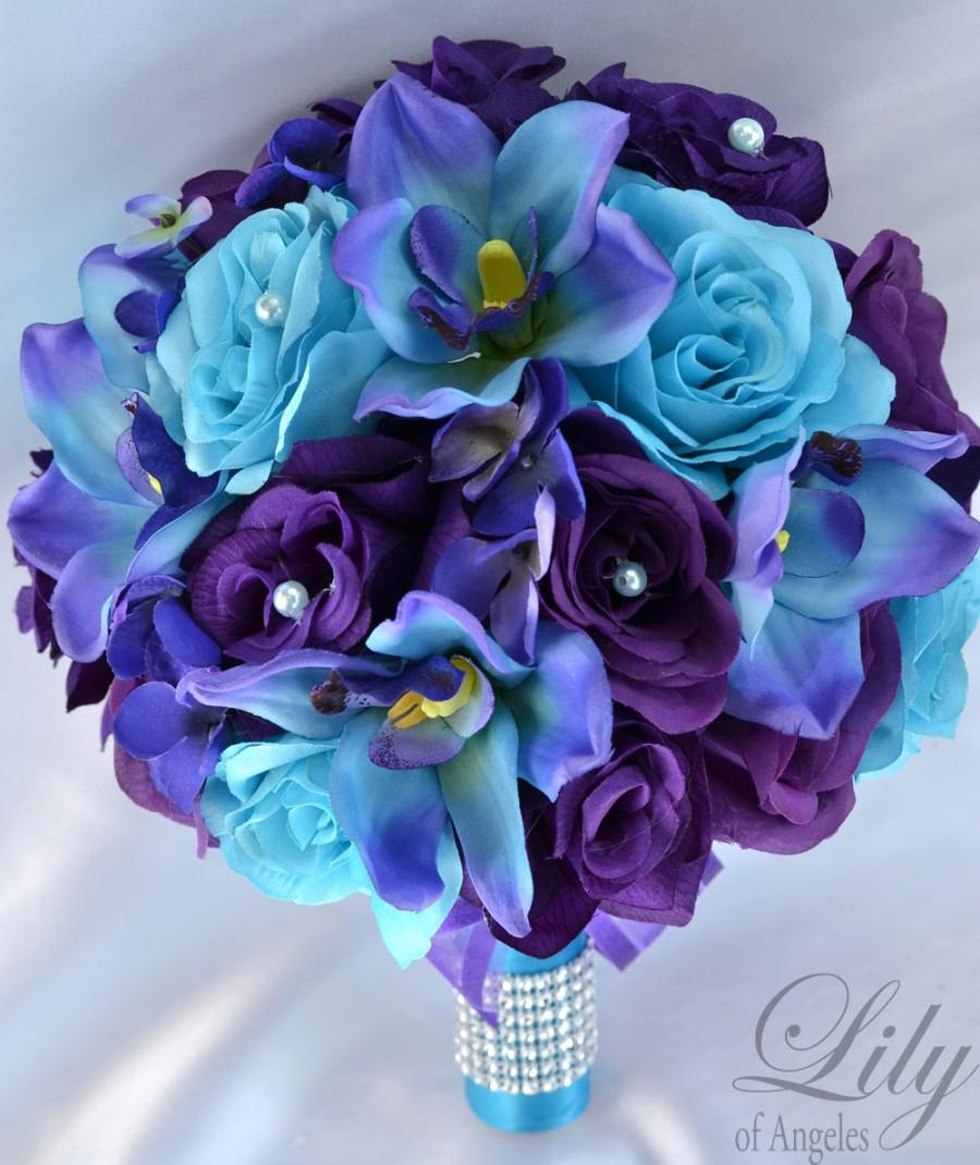 17 piece package wedding bridal bouquet silk flowers bouquets maid 17 piece package wedding bridal bouquet silk flowers bouquets maid bridesmaid purple turquoise malibu white orchid lily of angeles tupu07 izmirmasajfo