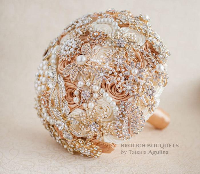 Hochzeit - Brooch bouquet. Ivory and Gold  wedding brooch bouquet, Jeweled Bouquet. Quinceanera keepsake bouquet