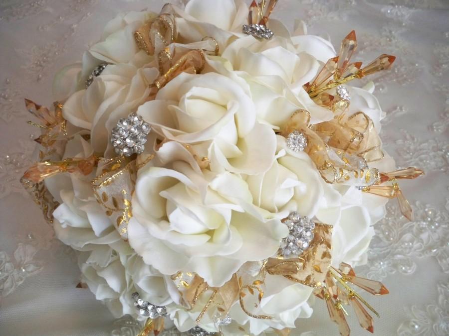 Mariage - Realtouch Vintage Destination Rhinestone Gold Accents Wedding Bridal Bouquet Set Called the Aurora
