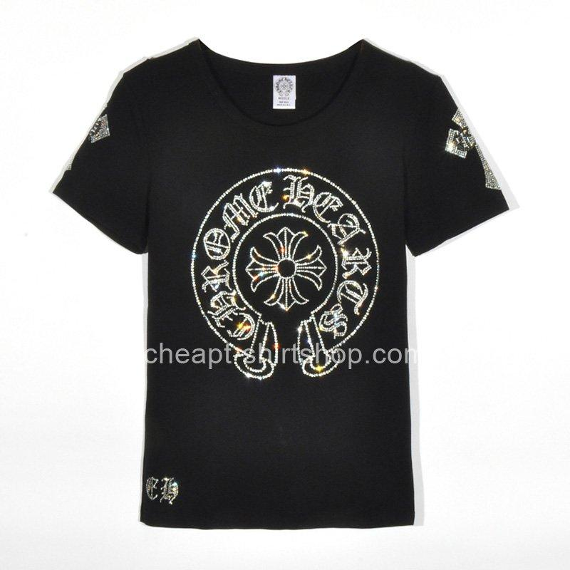 Hochzeit - Cheap Black Chrome Hearts Large Diamonds Horseshoe Short Sleeves T-shirt [Chrome Hearts T-shirts] - $159.00 : T shirt