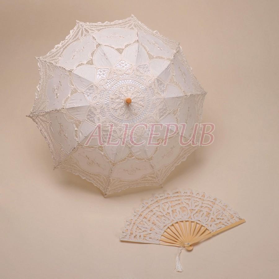Свадьба - Wedding Umbrella Hand Fan Set, Handmade Lace Parasol, Vintage Bridal Umbrella, Decoration Umbrella Fan Set, Lace Umbrella Parasol HSSZ13
