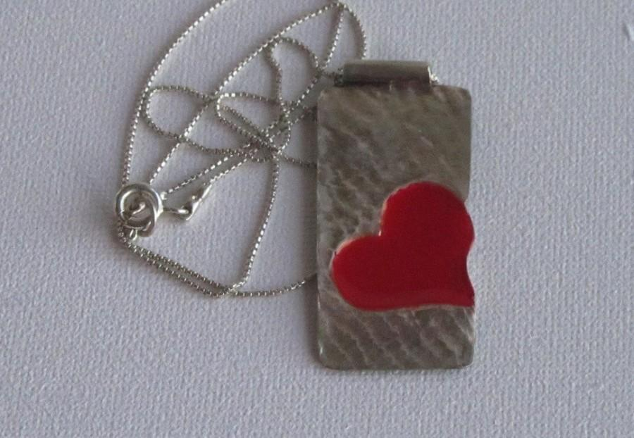 Mariage - Red heart bar necklace.Double chain pendant,rustic heart necklace ,birthday gift. heart pendant necklace  juli711,silver heart bar pendant.