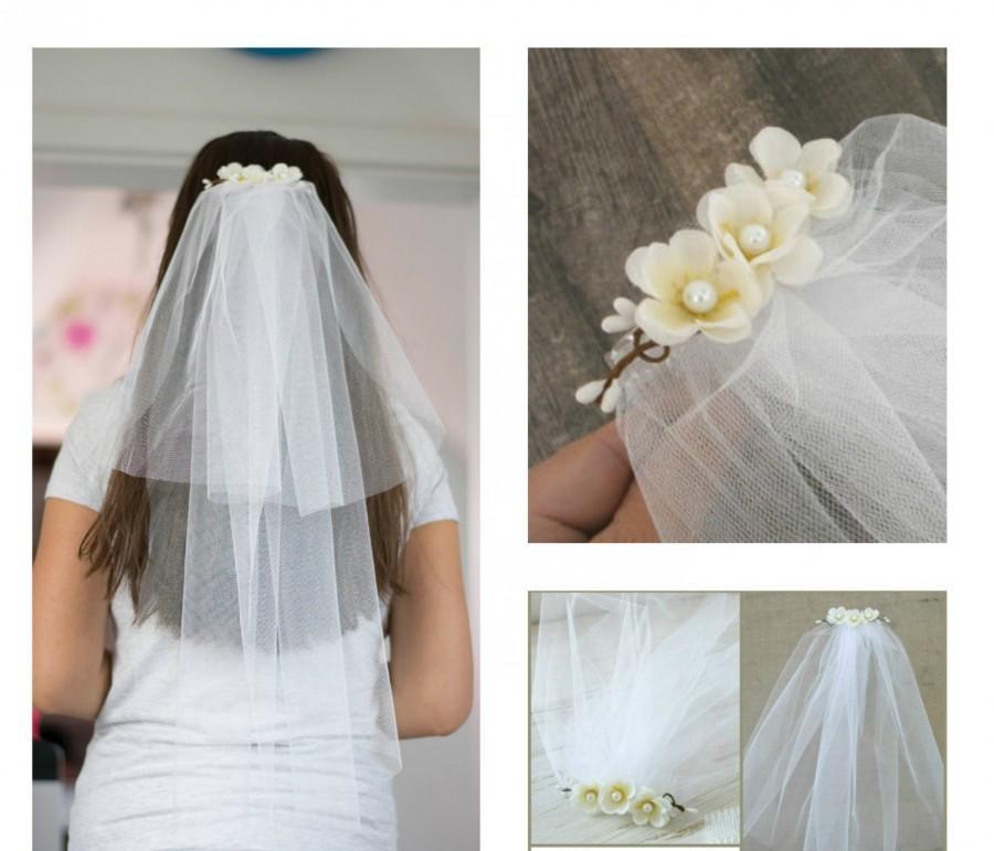 Свадьба - Bachelorette Veil Bridal Shower Veil Party Accessory Headband Veil Flower Bride Party Rustic Wedding