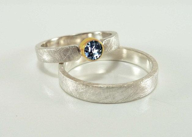 Wedding Rings Set Silver Gold And Sapphire Wedding Rings Yellow