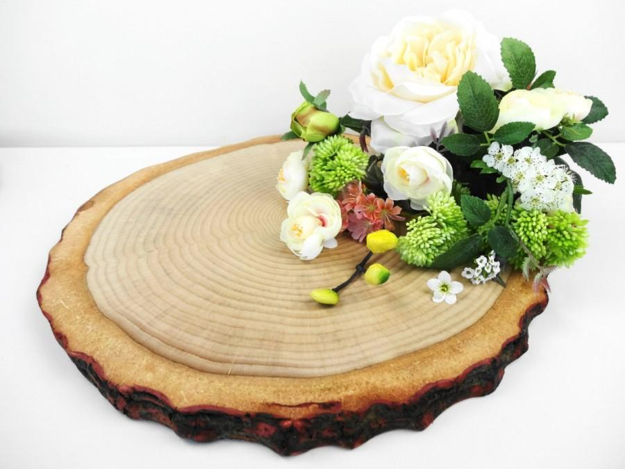 "Wedding - 14"" Wood Slice, Wood Slice Cake Stand, Tree Cake Stand, Stump, Bark Wood Slice, Wedding Cake Stand, Wood Round,Large Wood Slice"
