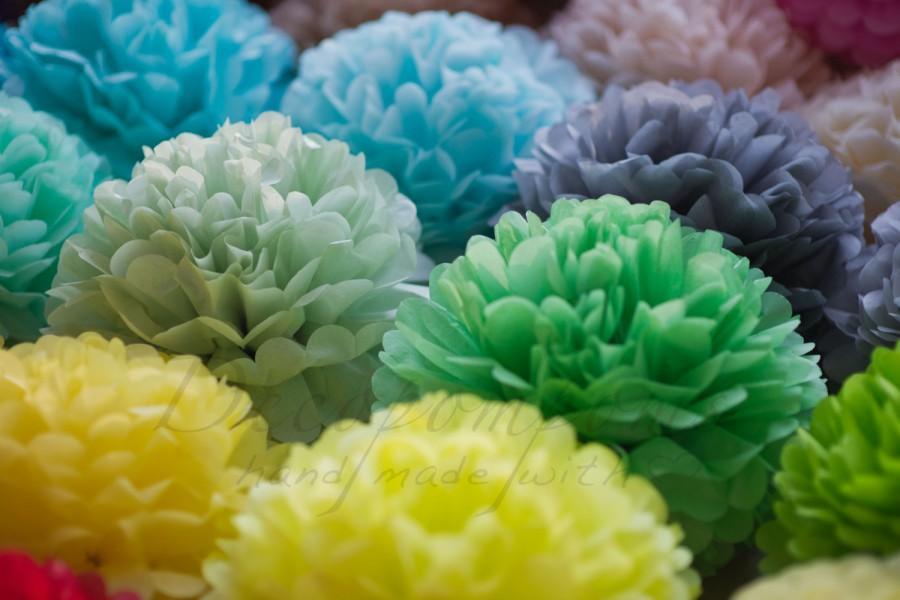 Свадьба - 21 mixed size tissue paper Pompoms set - pick your colors - fullest pompoms