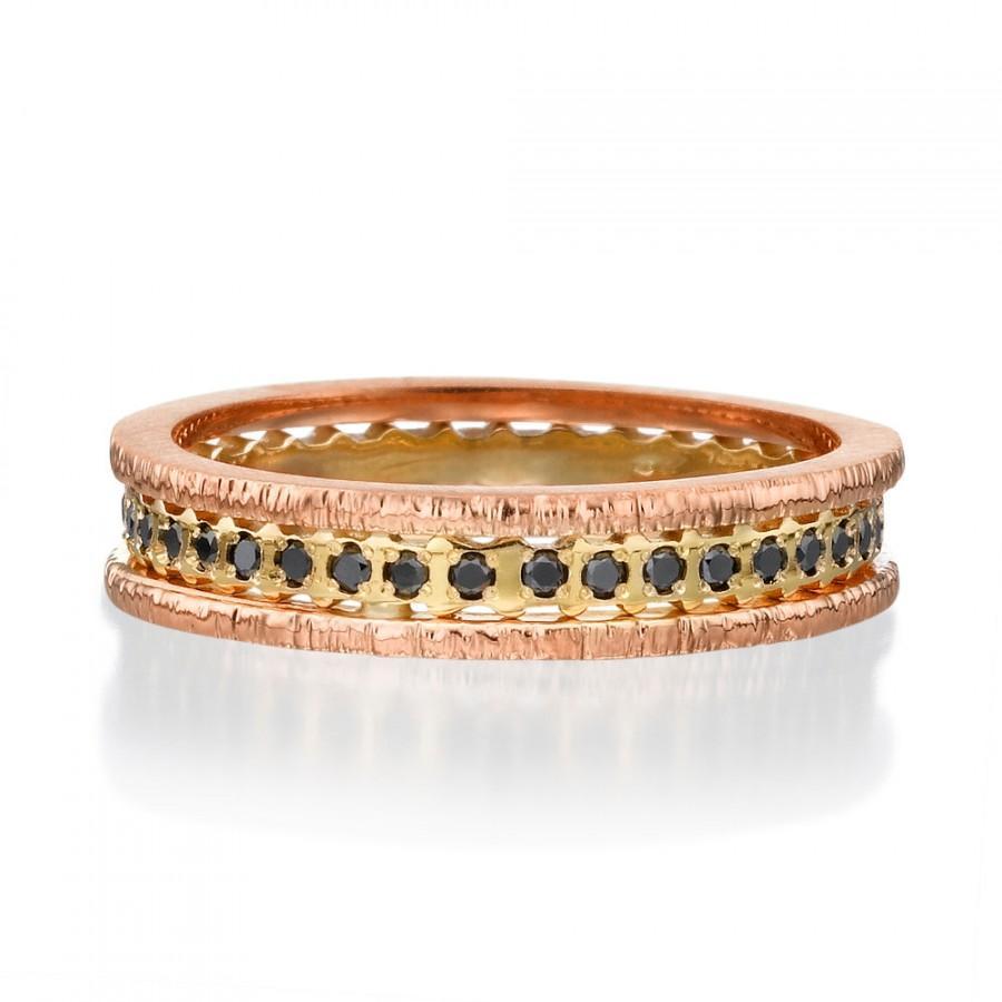 زفاف - Black Diamonds, 14k Gold Ring, Diamond Ring, Rose gold ring,  Multicolor Ring, Black Diamonds rings, Designed gold Ring, 14K rose rings