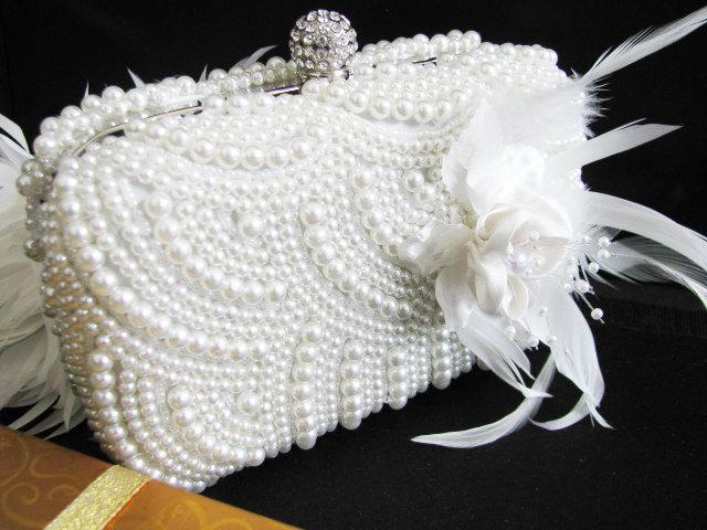 Свадьба - Wedding Bag Clutch Formal Evening Bag with Faux pearl