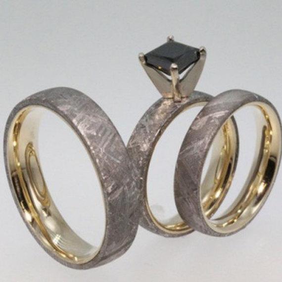 Black Diamond Engagement Ring Set With Men S Meteorite Wedding Band
