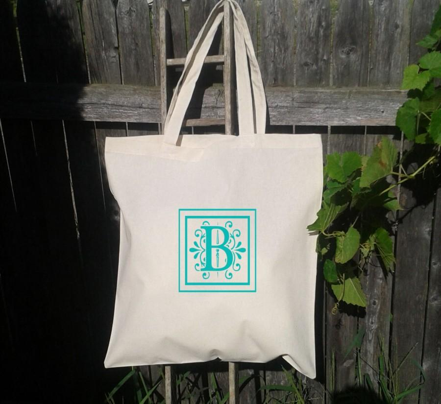 Свадьба - Wedding Welcome Tote -Bridesmaid Bag - Flower Girl  - Monogram Initials -A to Z