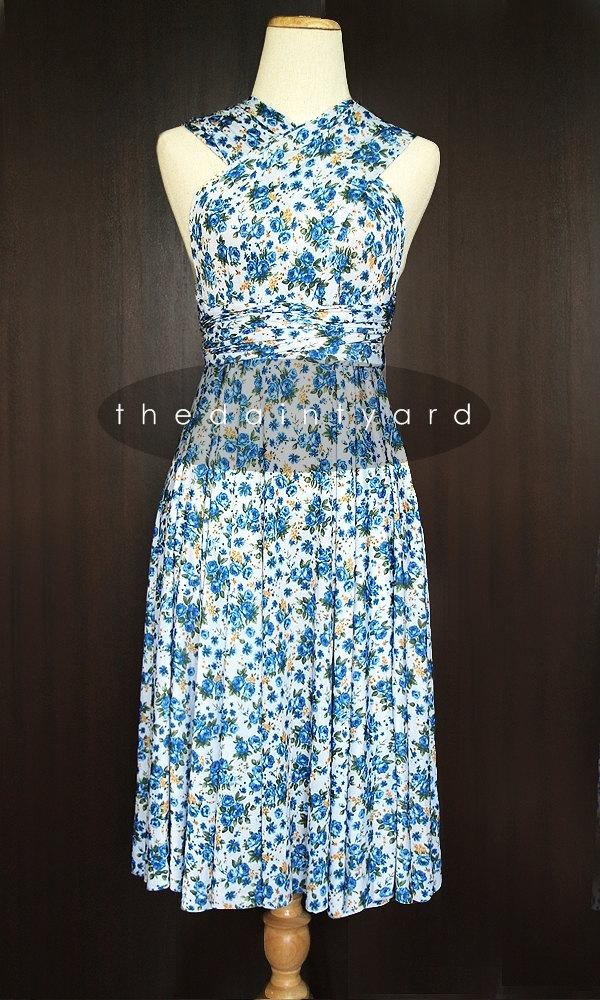Hochzeit - Blue Floral Bridesmaid Convertible Dress Infinity Dress Multiway Dress Summer Dress
