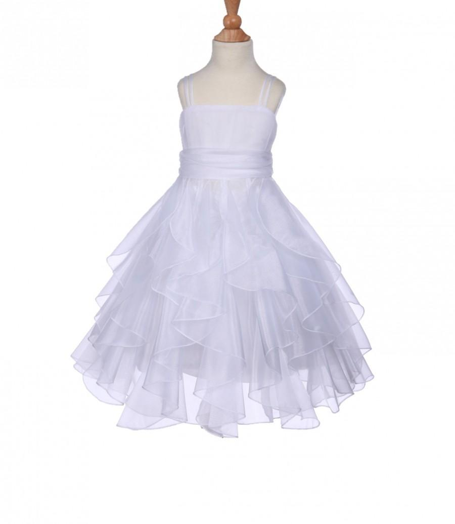 Свадьба - Elegant Stunning White Organza Flower girl dress pageant princess wedding bridal bridesmaid toddler size 12-18m 2 4 6 6x 8 9 10 12 14 #151