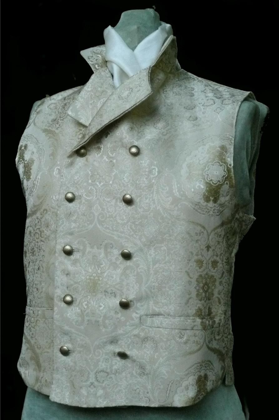 Mariage - Mans English Regency Wedding Vest Double Breasted Grooms Waistcoat in Cream/Gold Silk Brocade