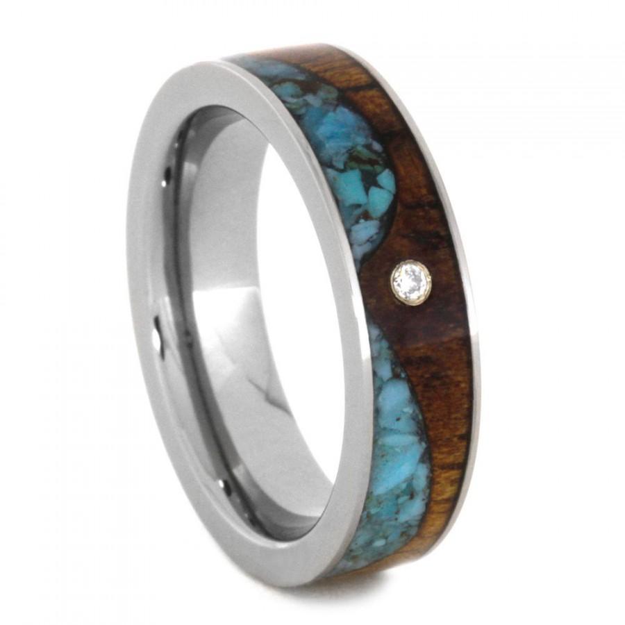 Hochzeit - 14k White Gold Bezel Set Diamond Wedding Band, Titanium Ring With Koa Wood And Turquoise, Wave Ring