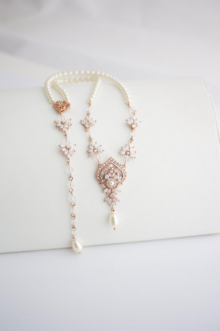 8c79beb8f Wedding Necklace Bridal Jewelry Rose Gold Backdrop Necklace Rose Gold  Jewelry Wedding Jewelry EVIE Back Drop Necklace