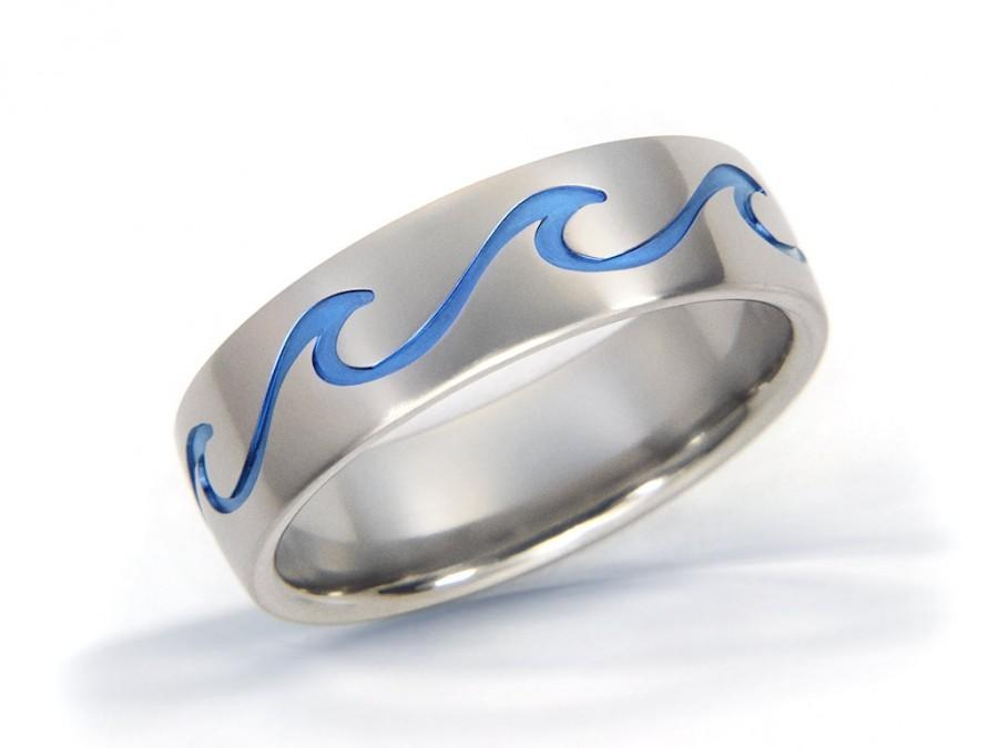Mariage - Ocean Wave Ring, Beach Jewelry, Ocean Ring, Beach Ring, Wave Titanium Ring, Ocean Jewelry