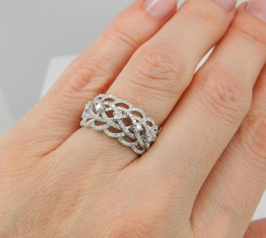 Wedding - Diamond Ring Anniversary Ring .75 ct Wedding Band 14K White Gold Ring Size 7