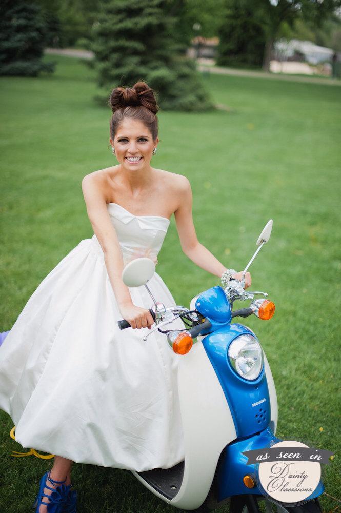 SAMPLE SALE Tea Length Sweetheart Neckline With Bubble Hem Wedding Gown Grace