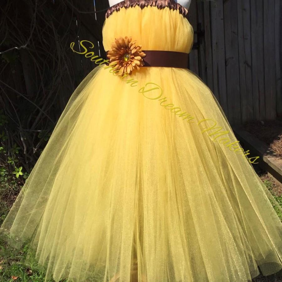 07740a17166d8 Yellow Flower Girl Dress, Vibrant Flower Girl Dress, Country Chic ...