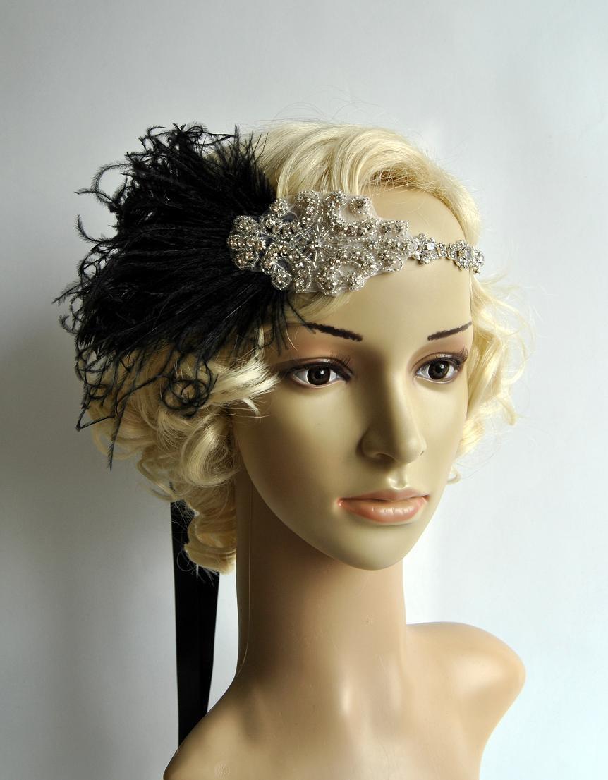 Mariage - Black  Feathers 1920s Rhinestone Headpiece,1920's head piece,Flapper headband,1930's,crystal headband, Rhinestone flapper headpiece in black