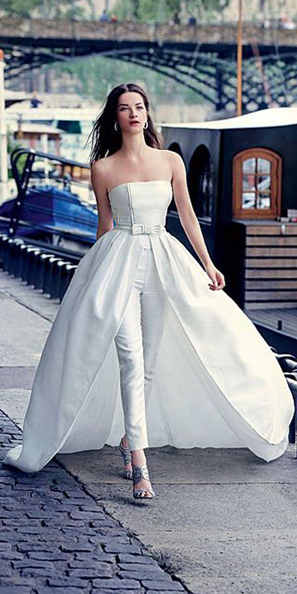 Wedding - 18 Wedding Pantsuit Ideas - Modern Bridal Outfits