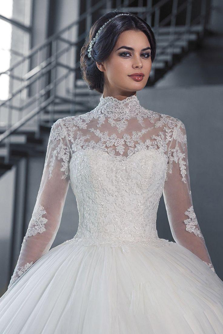 Wedding - High Neck IIIusion Lace Back Sweep Train Wedding Gown