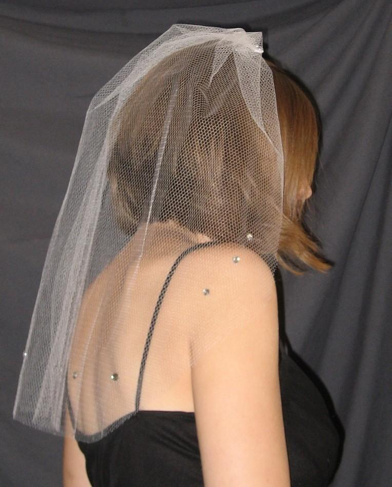 Hochzeit - Rhinestone Bachelorette Veil with white tulle netting - READY to ship
