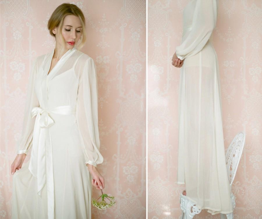 Isolde. Poet Sleeve Chiffon Robe. Long Bridal Lingerie Robe In ...