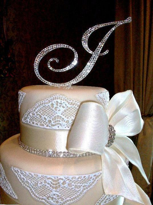 "Mariage - FREE SHIPPING 5"" Swarovski Crystal Monogram Cake Topper ANY letter from the alphabet"