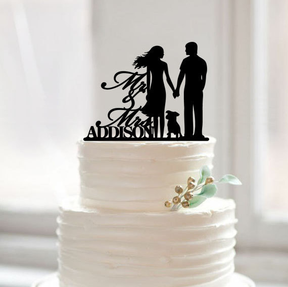 Mariage - Wedding cake topper with dog, mr mrs last name cake topper,wedding cake topper silhouette,wedding cake topper with dog,rustic cake topper