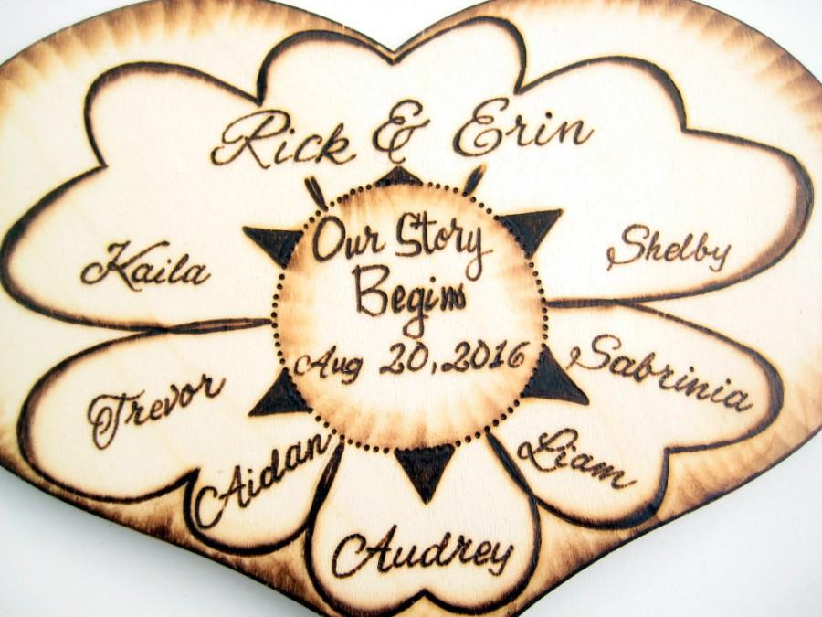 Blended Family Wedding Cake Topper With Kids Our Story Begins Personalized Names PYROGRAPHY Gift For Couple Wooden Heart