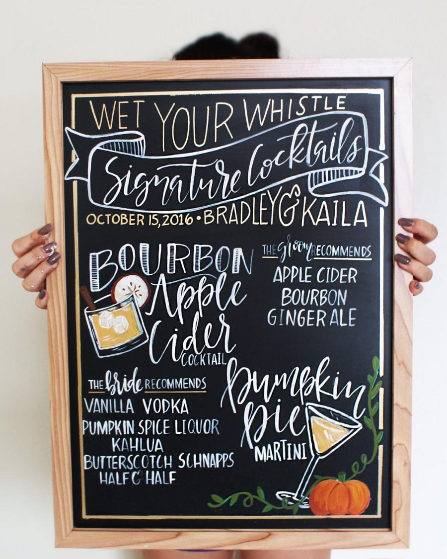 Mariage - CHALKBOARD Personalized Wedding Bar Sign // , Hand Lettered Calligraphy, Bar Event Sign, Signature Drink Menu