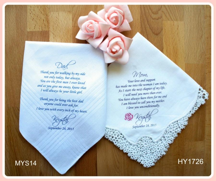 Wedding - Mother of the Bride Gift-Father of the Bride-Wedding Handkerchief-PRINTED-CUSTOMIZED-Wedding Hankerchief-Wedding Gift-Personalized Hankies
