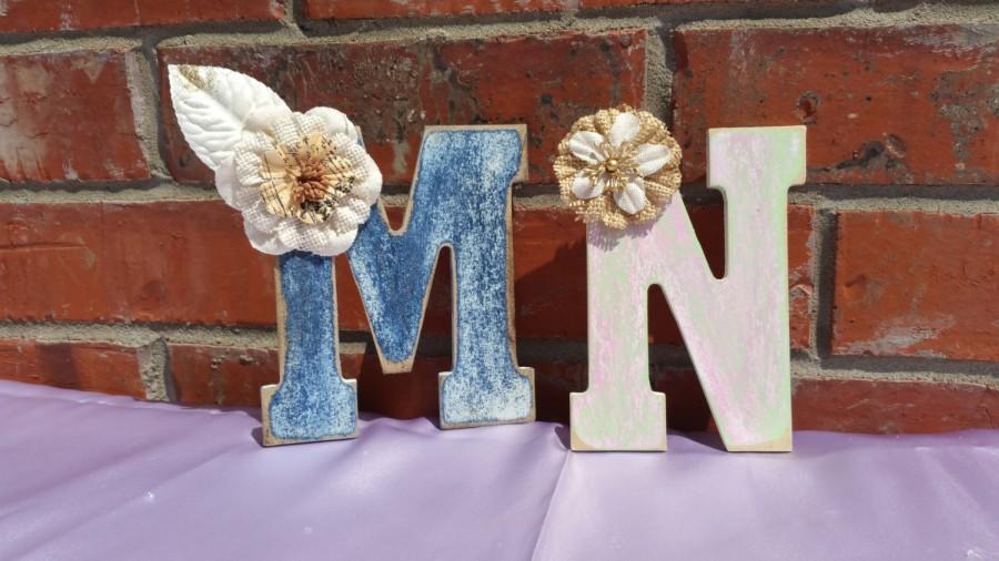 Hochzeit - Burlap Flowers,Burlap Cake Topper ,Rustic Wedding Cake Topper,Monogram,Wood Letter ,Rustic Wedding Decor,Rustic flowers,Wedding Accessories