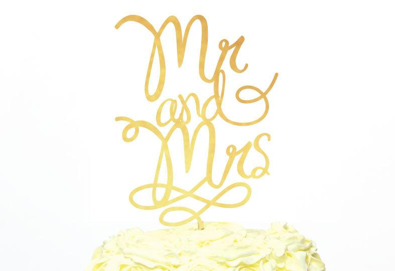 Mr And Mrs Cake Topper, Modern Calligraphy Cake Topper, Gold Cake ...