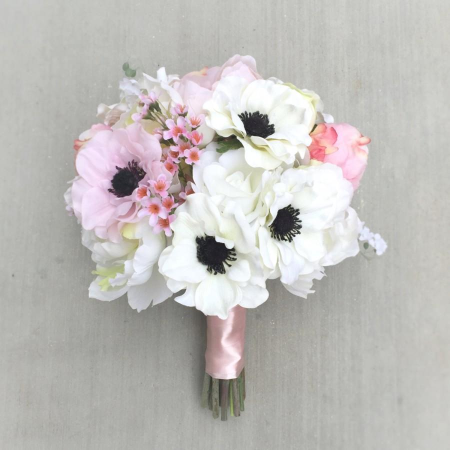 Pink anemone silk wedding bouquet with pink white anemones pink anemone silk wedding bouquet with pink white anemones peonies and wax flowers mightylinksfo