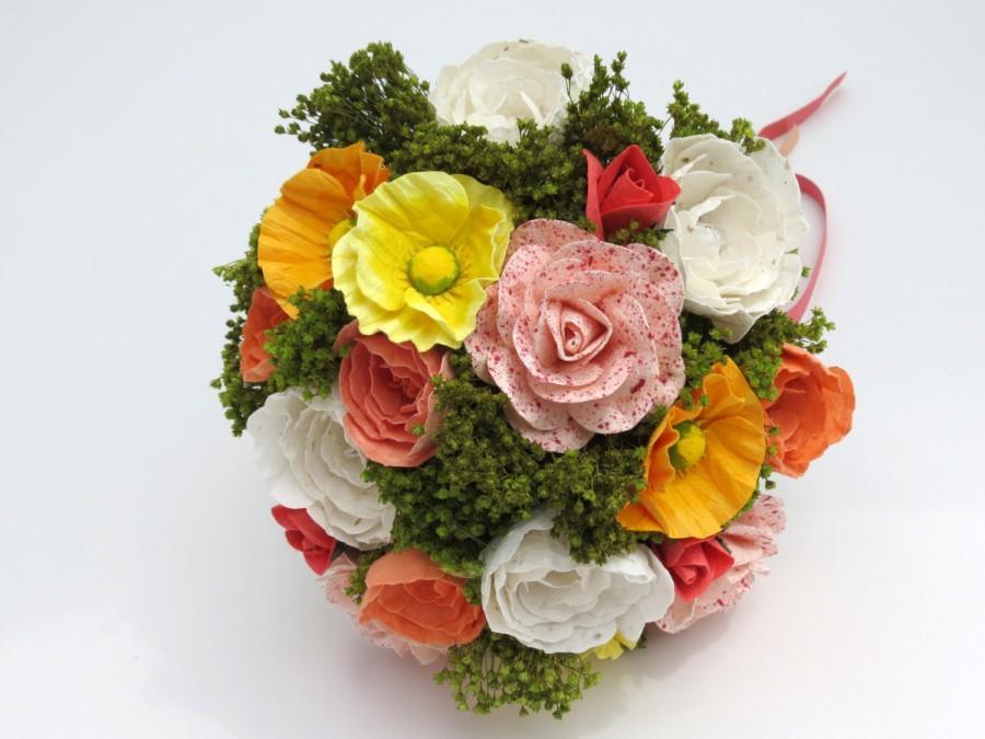 Mariage - Multicolour Bouquet - Mixed Paper Flowers Wedding Summer Bouquet