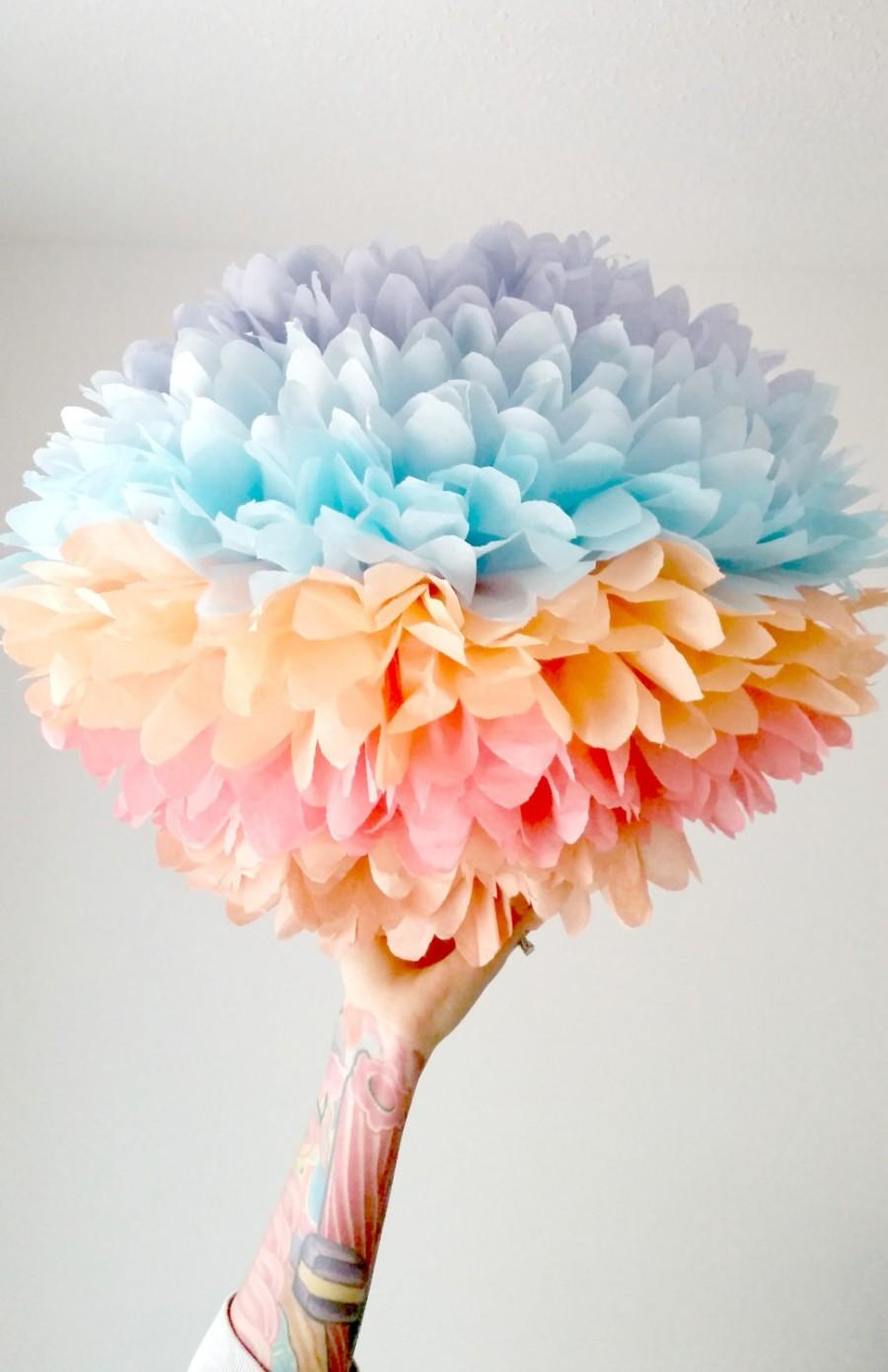 Boda - party decoration ...  JUMBO coral sunset  ... 1 Tissue paper pom //weddings // nursery // baby shower // birthday sorbet // high chair decor