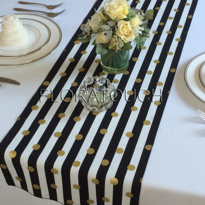 White And Black Striped With Gold Dots Table Runner