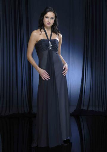 Mariage - Sleeveless Halter Chiffon Navy Ruched Floor Length