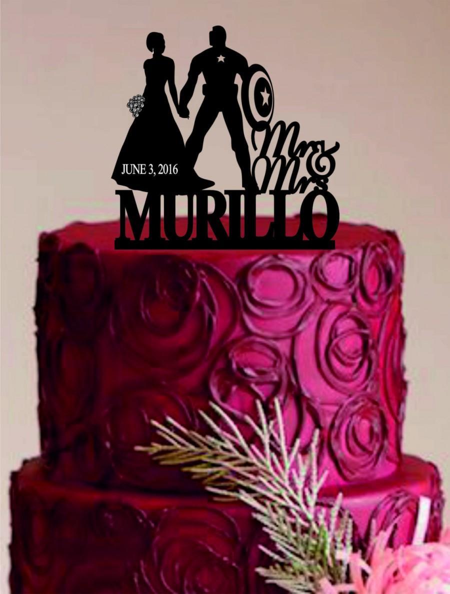 Mariage - Captain America wedding cake topper, Bride and Groom Wedding Cake Topper, Custom Wedding Cake Topper, Unique Wedding Cake Topper, Funny