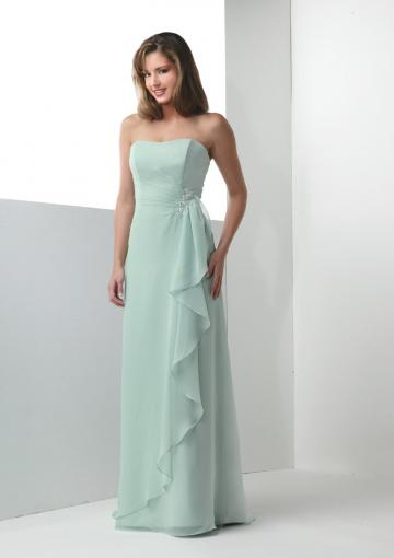 زفاف - Sleeveless Mint Strapless Floor Length Chiffon Ruched