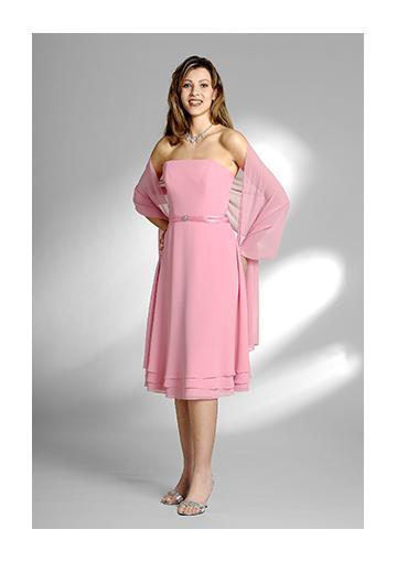 Wedding - Sleeveless Strapless Knee Length Shawl Chiffon Pink Ruched